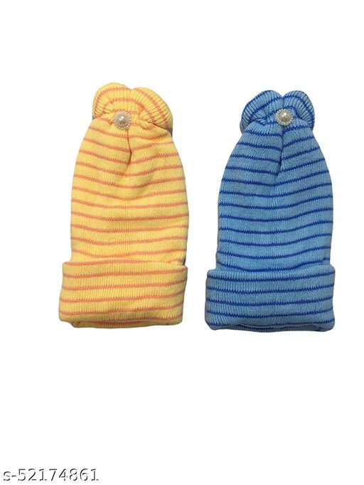 ISHA EOE Monkey Cap for Baby Boys & Girls   Extreme Softness 2 Layered Protection   Cots Wool Make - No Irritation & Comfy   One Size Fits from New Born to 2 Yrs