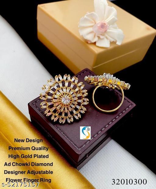 New design premium quality high gold plated ad chowki diamond designer superb adjustable flower fing