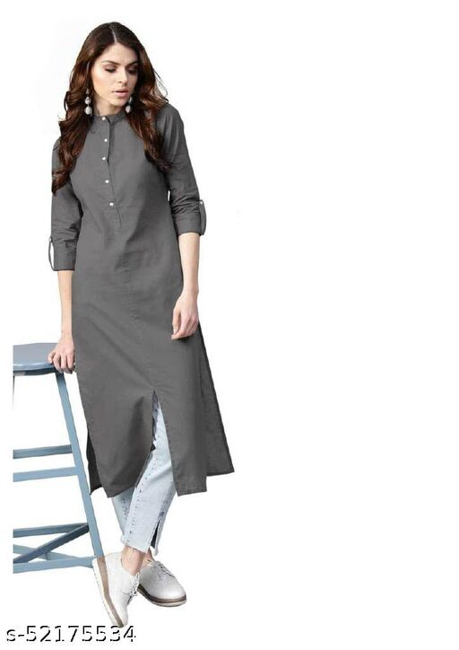 Straight Long Kurti grey for Office & Daily wear