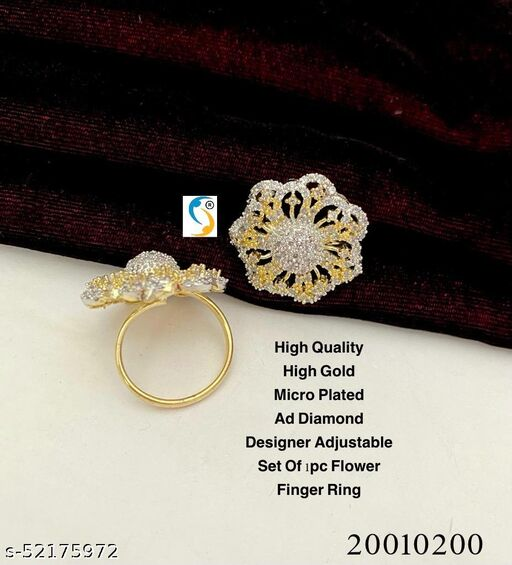 New design premium quality high gold micro plated ad diamond new adjustable flower finger ring.