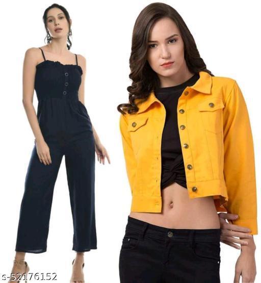 Stylish Beautiful Neavy Blue Jumpsuit With Yellow Jacket