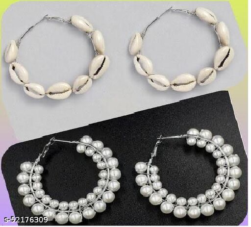 Klenot Combo of Double Pearl and Shell Hoop Earrings