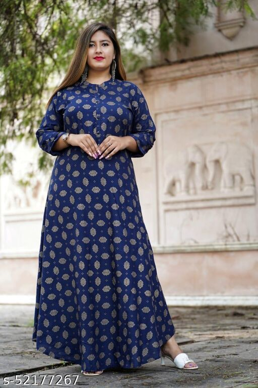 WOMEN LATEST & FASHIONABLE BLUE PRINTED GOWN