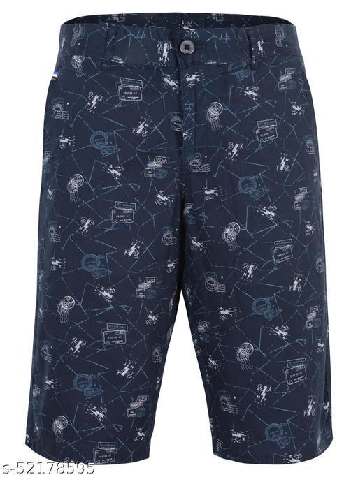 Crosscode - Men's Printed Casual Shorts(CCSHT022_NAVY)