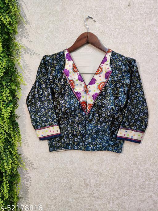 KAIZEN INTERNATIONAL Zari Satin Party wear Digital Printed Full Sleeve Alterable Stitched Blouse