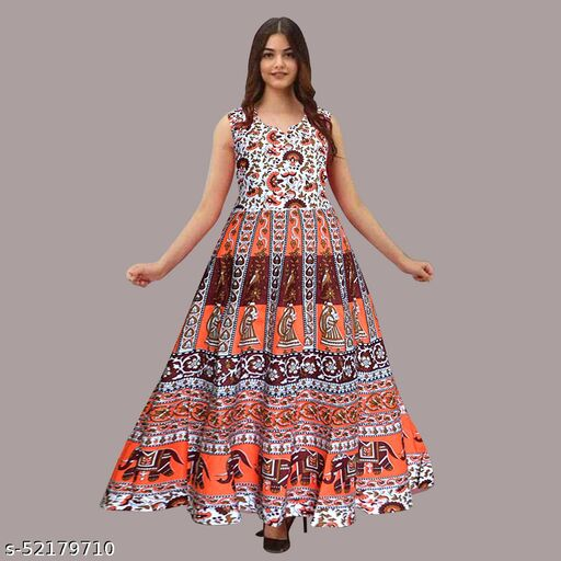 JBD COLLECTIONS Women Fashionable Cotton Printed Kurti Gown