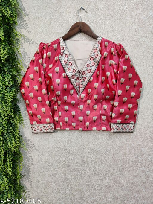 SIX SIGMA Zari Satin Party wear Digital Printed Full Sleeve Alterable Stitched Blouse