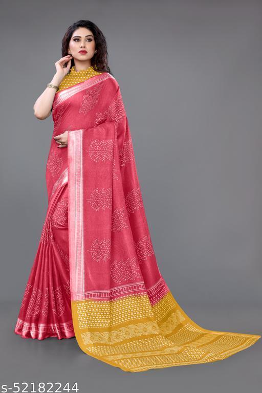 Sourbh Fashion Jute Satin Block Print Satin Patta Bordered Saree With Unstitched Blouase Piece.