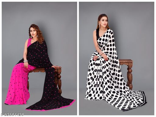 Set of 2, Trendy, Printed , Georgette Sarees with Blouse piece