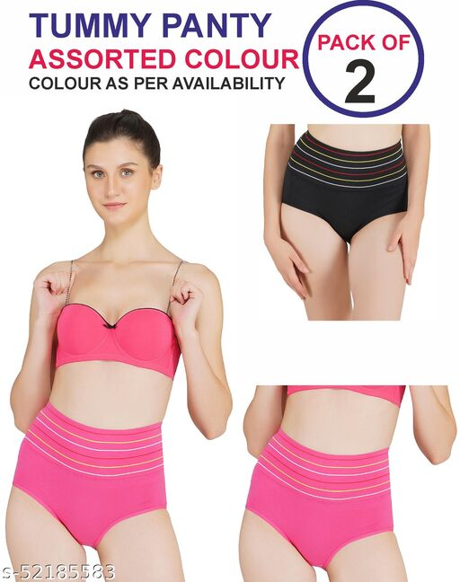 Piftif High Waist strips Tummy control panty pack of 2 assorted colour