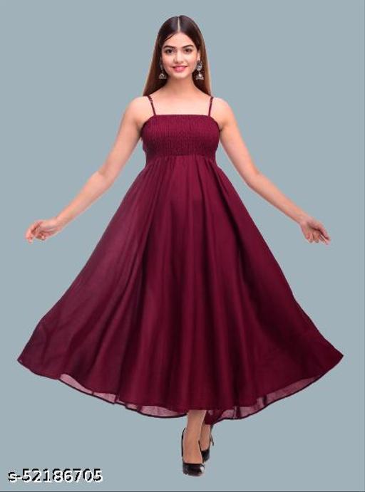SKARLEY Rayon Anarkali Dress For Women/Ladies/Girls (Wine)