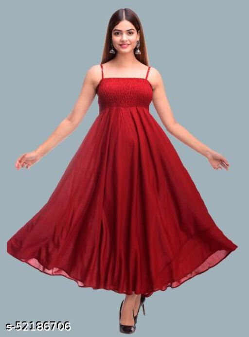 SKARLEY Rayon Anarkali Dress For Women/Ladies/Girls (Maroon)