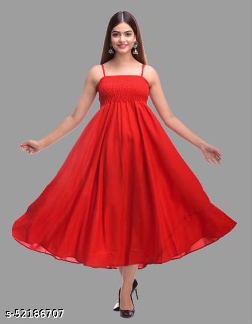 SKARLEY Rayon Anarkali Dress For Women/Ladies/Girls (Red)
