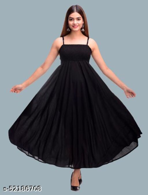SKARLEY Rayon Anarkali Dress For Women/Ladies/Girls (Black)