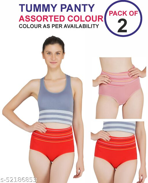 Tomkot High Waist strips Tummy control panty pack of 2 assorted colour