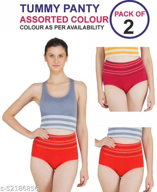 Tomkot High Waist strips Tummy control briefspack of 2 assorted colour