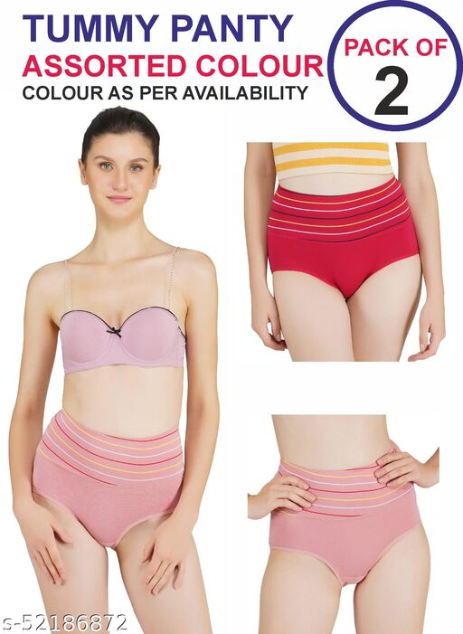 Tomkot High Waist strips Tummy control panty pack of 2 assorted colour Shapewear