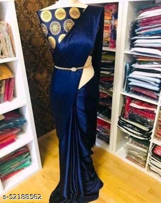 SALE LOWEST PRICE FOR YOU SOLID SATIN SILK SAREE WITH JACQUARD BLOUSE