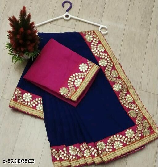 SALE LOWEST PRICE FOR YOU GEORGET BORDER WORK SAREE WITH BORDER BLOUSE