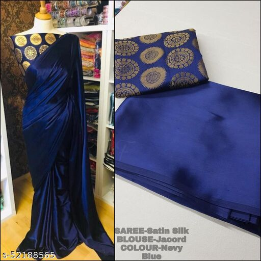 SALE LOWEST PRICE FOR YOU SATIN SAREE WITH JACQUARD BLOUSE
