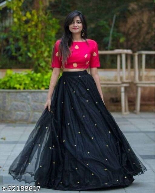 New design black Colour Net Semi - Stitched Embroidered lehenga Choli With  Silk Fabric Blouse Embroidered Work