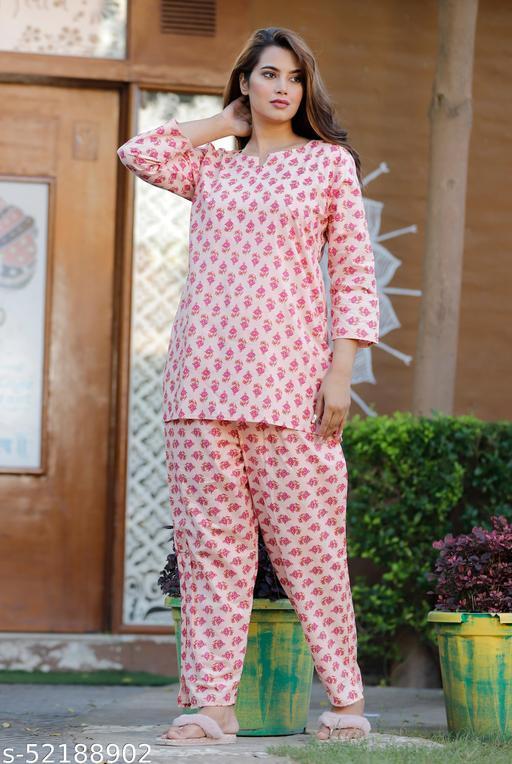 QKING Women Cotton Printed 3/4 Sleeves Nightwear Nightsuit