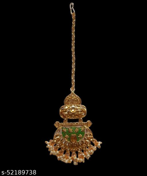 Kord Store Traditional Gold Plated Kundan Chandilier Maangtikka For Girls and Women