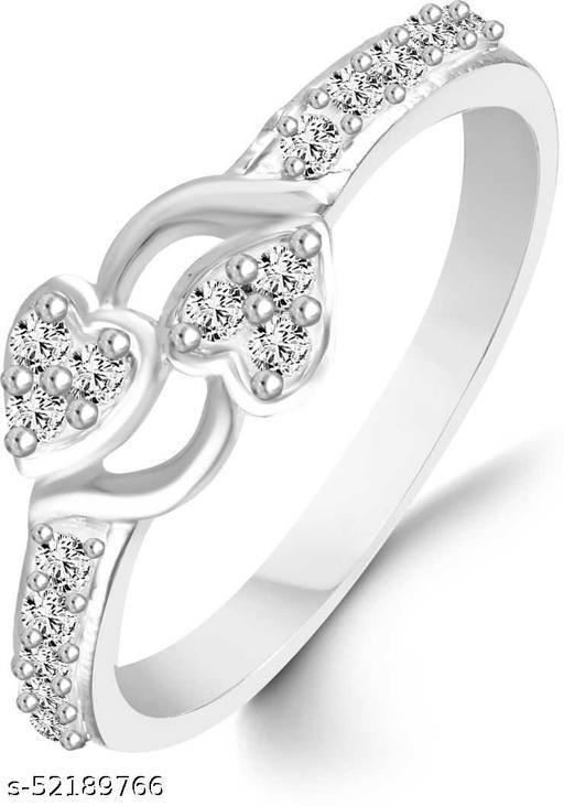 Vighnraj Jewels Couple Heart Diamond Silver Plated Cubic Zirconia Ring