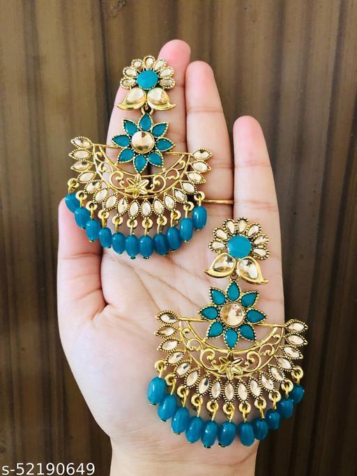 PREMIUM GOLDEN BRASS OXIDISED FLORAL BEADS STONE ETHNIC CHANDBALIJHUMKA EARRINGS| FOR GIRLS & WOMEN…
