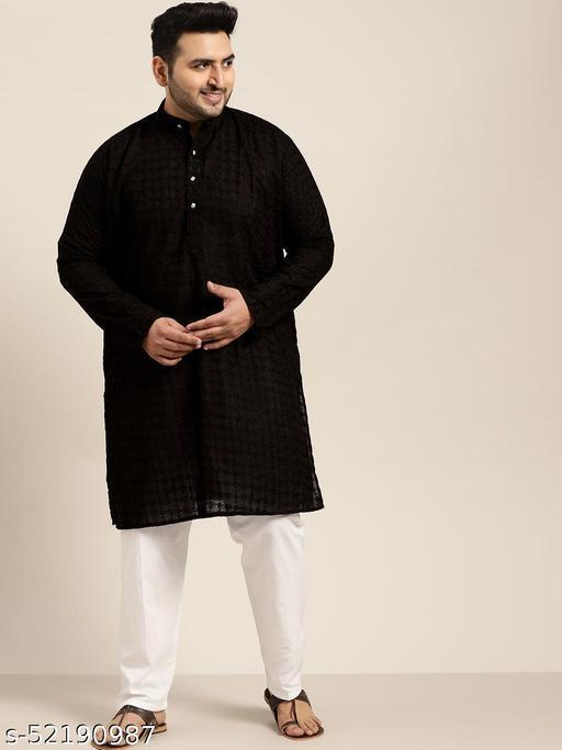 Sojanya(Since 1958), Men's 100% Cotton Black Chikankari Kurta & White Churidaar Pyjama