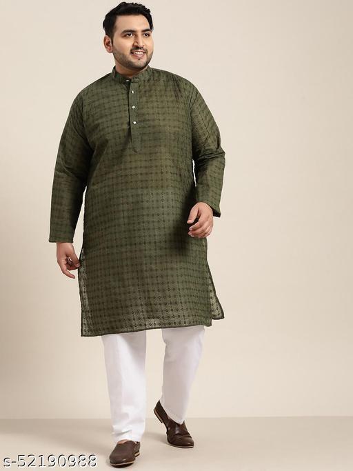 Sojanya(Since 1958), Men's 100% Cotton Olive Green Chikankari Kurta & White Churidar Pyjama