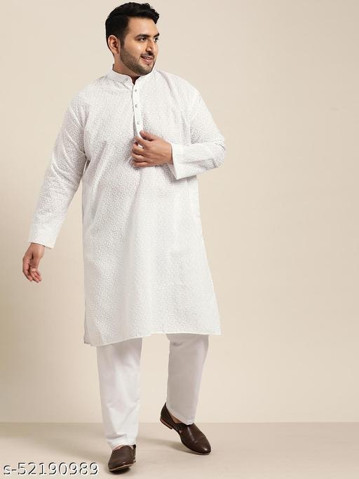 Sojanya(Since 1958), Men's 100% Cotton White Chikankari Kurta & White Churidaar Pyjama