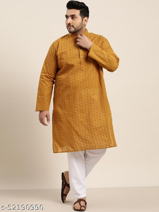 Sojanya(Since 1958), Men's 100% Cotton Mustard Chikankari Kurta & White Churidar Pyjama