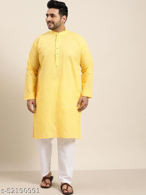 Sojanya(Since 1958), Men's 100% Cotton Yellow Chikankari Kurta & White Churidar Pyjama