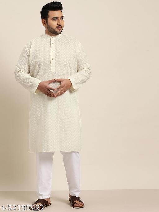 Sojanya(Since 1958), Men's 100% Cotton Cream Chikankari Kurta & Off-White Churidaar Pyjama