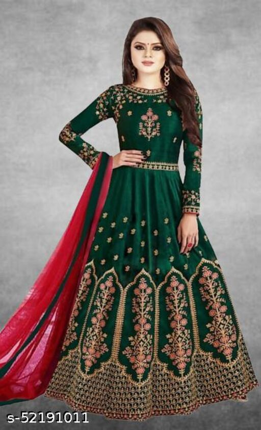 Pure Soft Taffeta Satin Gown With Heavy Embroidered Work