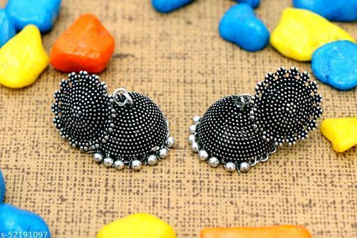 Nisha Enterprises Silver Jhumki Earrings | Studs for Women & Girls