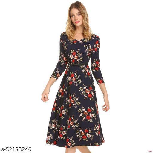 Ritsila Women's Fit And Flare Fancy Cotton Western Blue Midi Dress