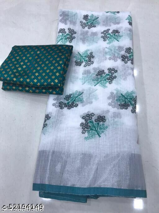 linen saree with banghali work . N Allso Come With Banarasi blouse