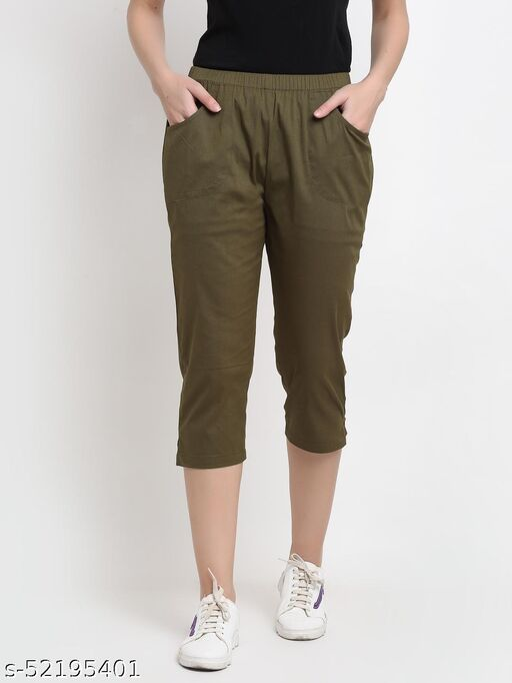 BRINNS Women's Olive Solid Cotton Calf Length Capris