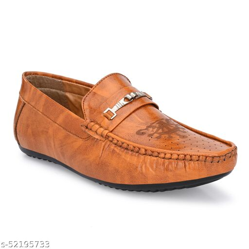 KCTOSHIKA Men's Tan Synthetic Slip_on Comfortable and High Quality  Casual Loafers