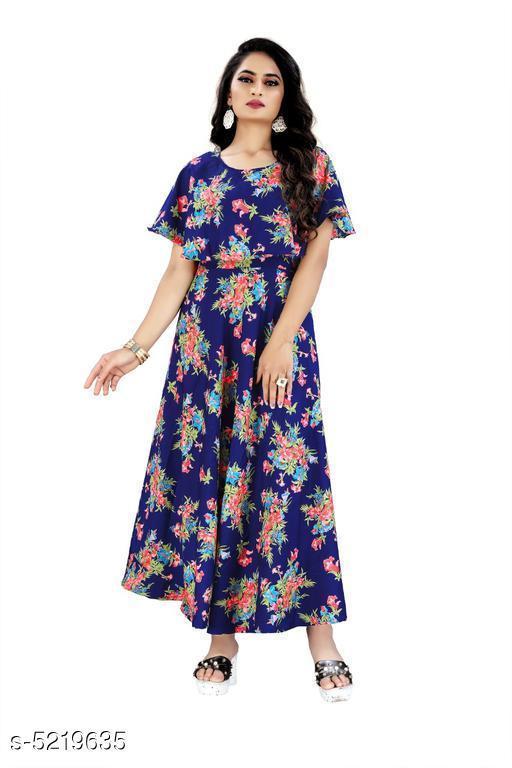 Women's Printed Navy Blue Crepe Dress
