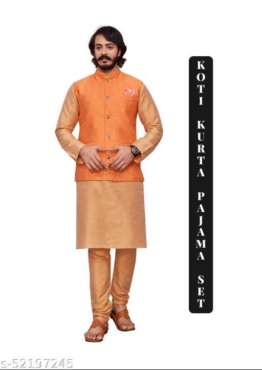 Fancy Men's Kurta Pajama with Koti Set (Special Diwali Offer)