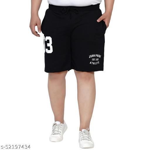 John Pride Regular Fit Grese Black Knitted Shorts for Men's