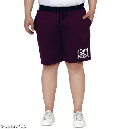 John Pride Regular Fit Sangria Red Knitted Shorts for Men's