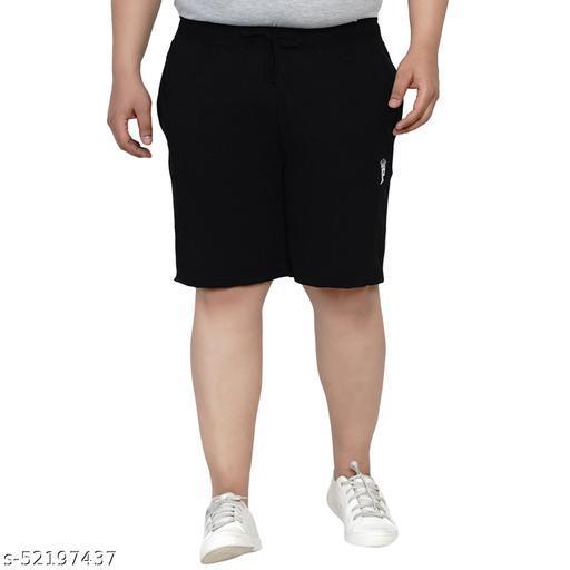 John Pride Regular Fit Jet Black Knitted Shorts for Men's