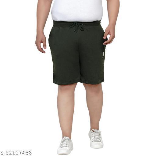 John Pride Regular Fit Olive Knitted Shorts for Men's