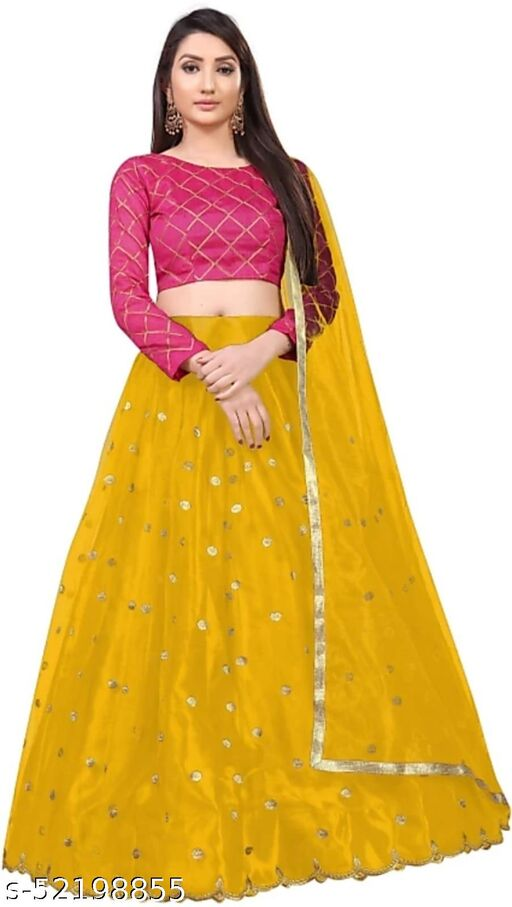 Navratri Special Radhika Pure Soft Net Embroidered Lehenga With Embroidered Satin Silk  Blouse With Net Dupatta With Lace