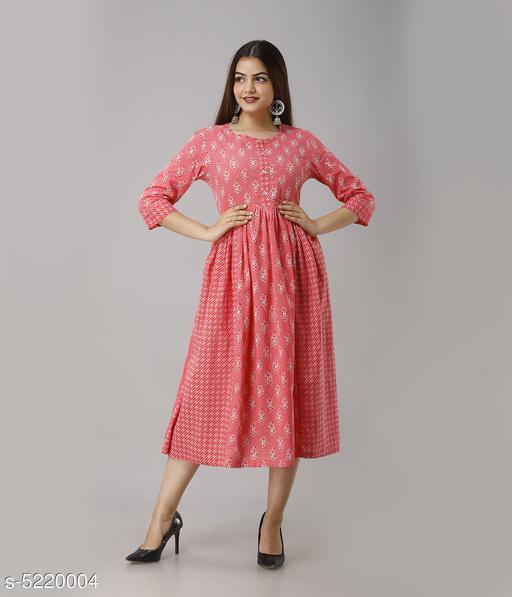 Women's Printed Cotton Blend Anarkali Kurti