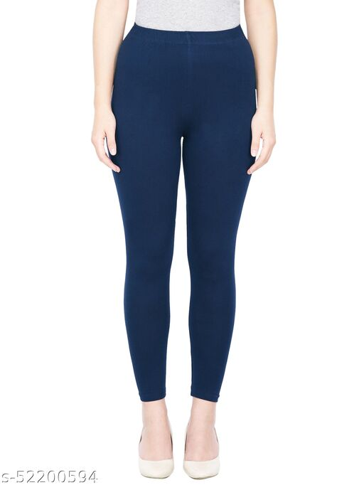 Women's Slim Fit Ankle Length Leggings (Navy Blue_Free Size - Fit to waist - 28-36 inches)